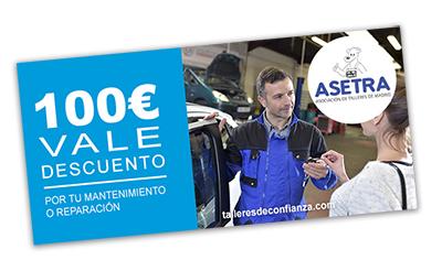 cheque ASETRA valorado en 100€ para poner el coche a punto